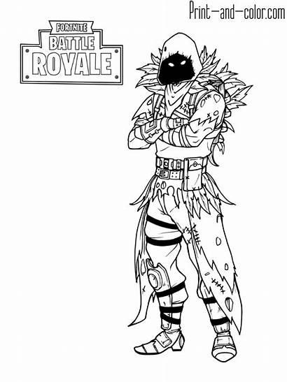 Fortnite Coloring Pages Raven Royale Battle Games