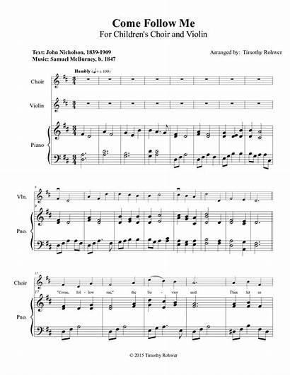 Follow Come Choir Songs Children Sheet Freeldssheetmusic