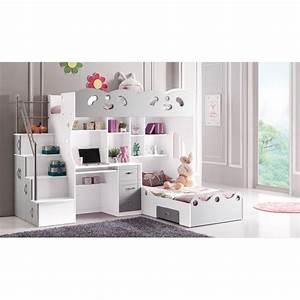 Lit Enfant Combiné : lit double pour enfant multifonction gris et bl achat ~ Farleysfitness.com Idées de Décoration