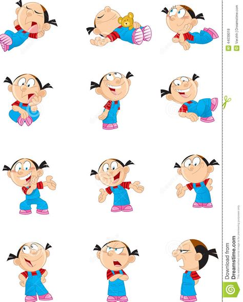 Cartoon Girl In Various Poses Stock Vector Image 44039018