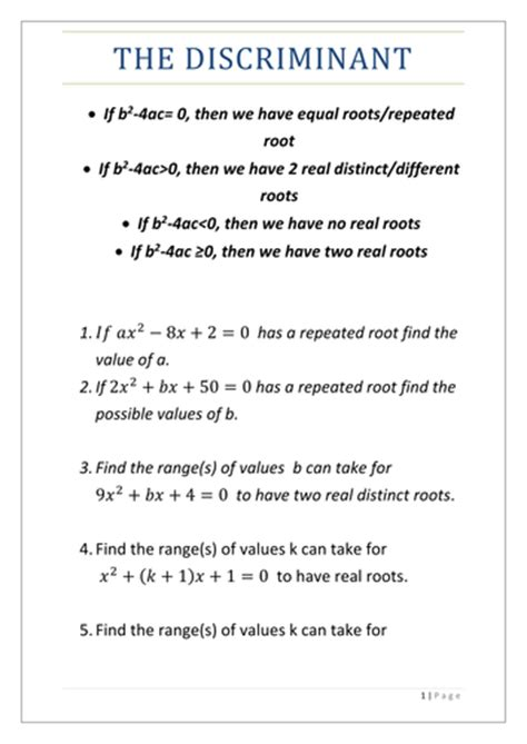 The Discriminant By Thando1998  Teaching Resources Tes