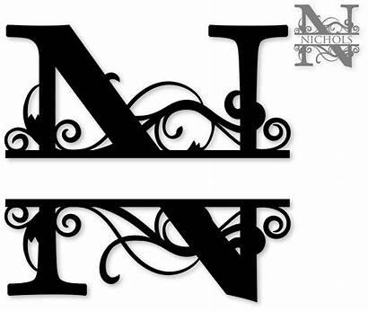 Monogram Split Clipart Letter Letters Clip Silhouette