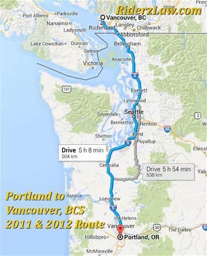 Portland Oregon Vancouver Canada Route Coast Road