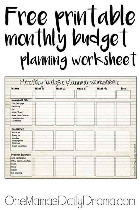 free printable monthly budget worksheet frugal living