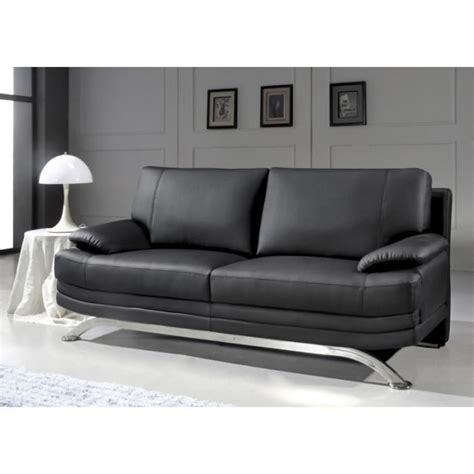 pied de canape canapé 3 places en cuir noir design pied chromé achat