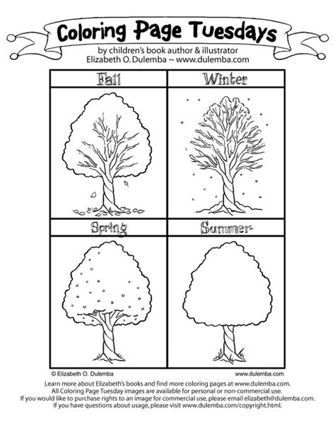 printable 4 seasons coloring page preschool printable