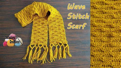 wave stitch crochet scarf pattern favecraftscom
