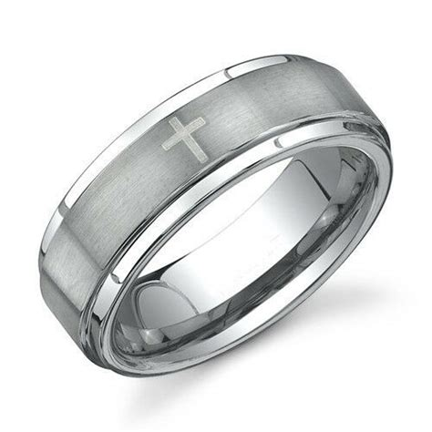 high quality mens tungsten carbide ring  crosses
