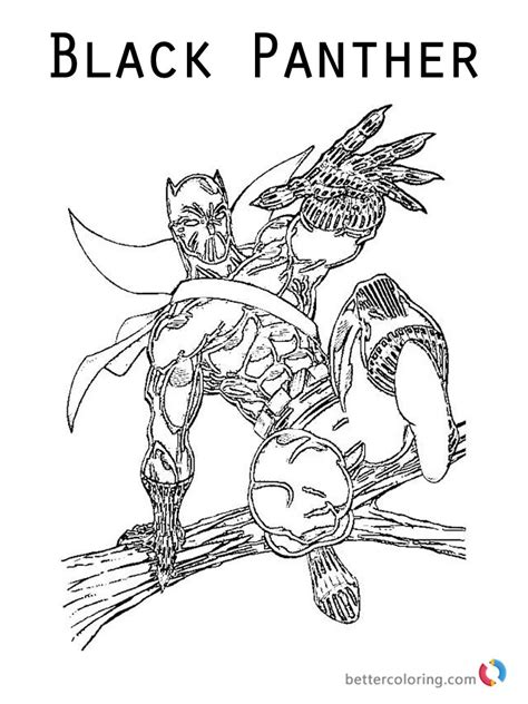 Kleurplaat Black Panther by Black Panther From Marvel Coloring Pages Free