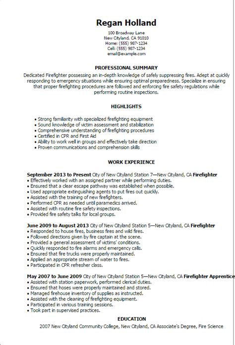 Firefighter Resume Summary by Professional Firefighter Templates To Showcase Your Talent Myperfectresume