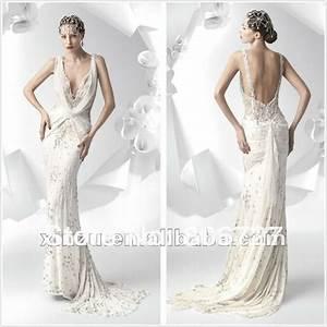 sexy beaded spaghetti strap lace open back wedding dresses With sexy back wedding dress