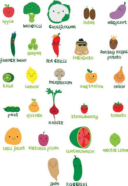 food that starts with the letter i veggie fruit alphabet illustrations 29341