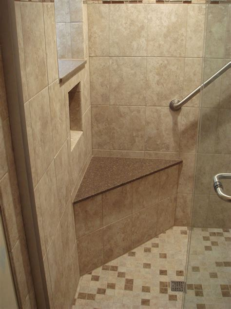 shower corner seat cubby hole shelf grab bar corner