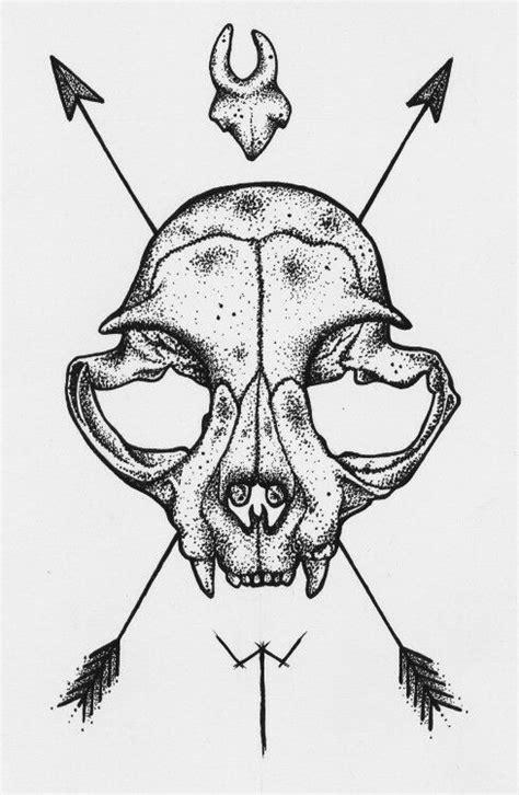 animal skull drawing draw art tattoo simple illustration