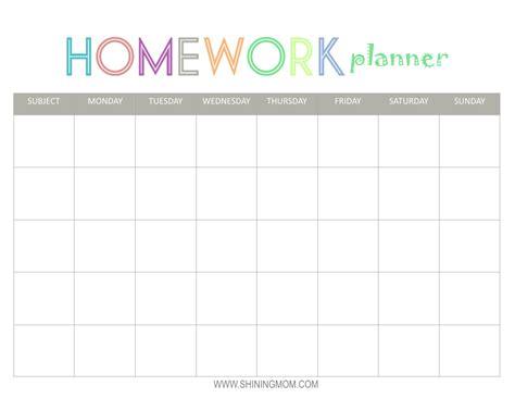 print homework free printable homework planner