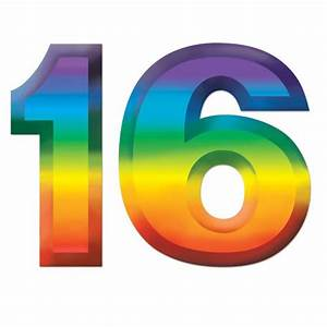 "Plastic Number ""16"" Decoration - 11"" - Party Packs"