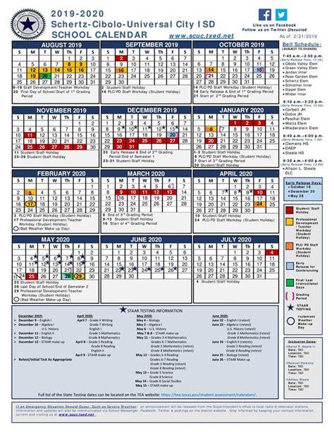school year calendar schertz cibolo universal city