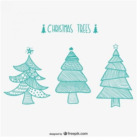 christmas trees drawings vector free download