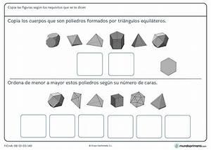 Ficha de poliedros triangulares para sexto de primaria