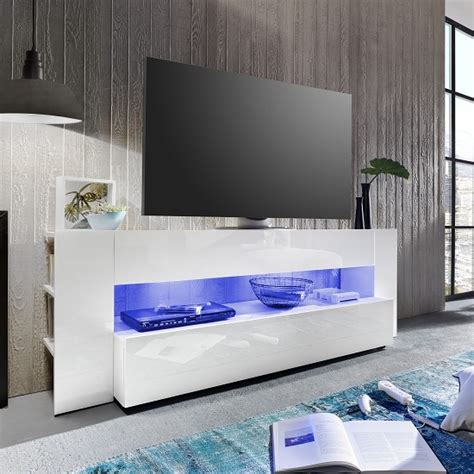 vista tv stand  white  high gloss fronts  led