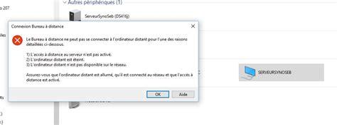 connexion bureau à distance sans mot de passe résolu securité windows réseau synology installation