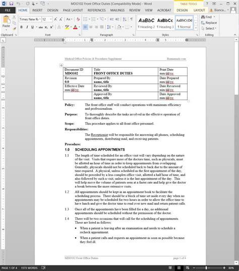 front office duties procedure