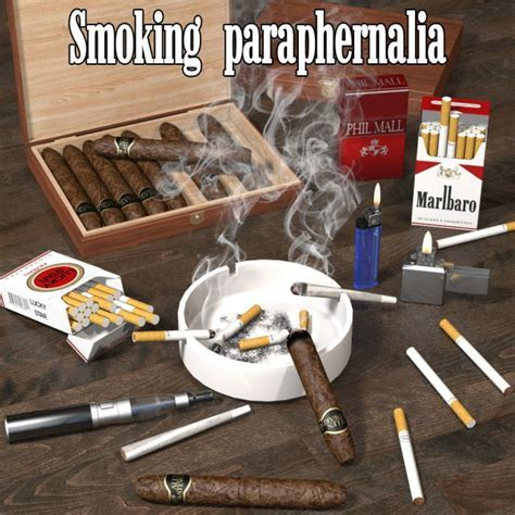 Smoking paraphernalia   Props for Poser and Daz Studio