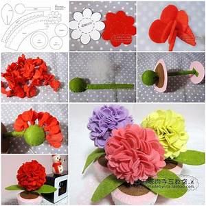 How to make Felt Hydrangea Flower step by step DIY