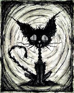 Black Cat 2 Original Drawing Halloween Cats Stray Sad