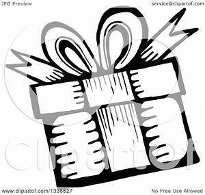 Clipart of a Sketched Doodle of a Black and White Birthday ...