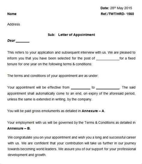 appointment letter templates  sample  format
