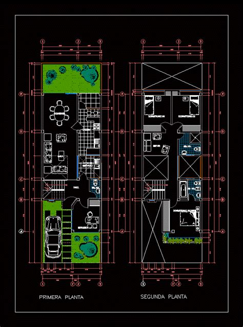 housing plan duplex  autocad  cad