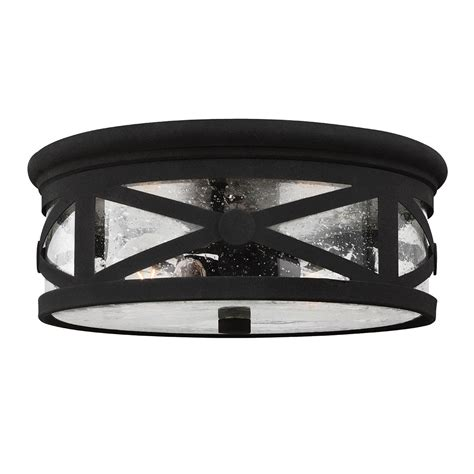 flush mount ceiling light seeded glass sea gull lighting lakeview black two light outdoor ceiling