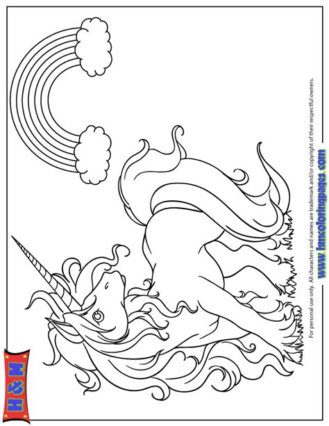 cute cartoon unicorn   rainbow coloring page