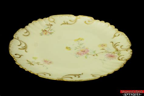 antique ls s limoges france plate gold scroll scalloped