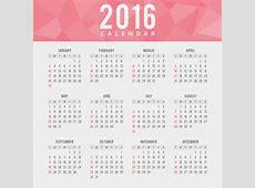 Calendario de 2016 rojo poligonal Descargar Vectores gratis