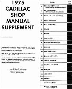 1975 Cadillac Repair Shop Manual Original Supplement