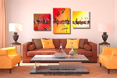 dessus canap tableau triptyque décoration jaune collection