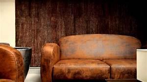 Ensemble club fauteuil et canape imitation cuir vieilli for Canape microfibre cuir vieilli