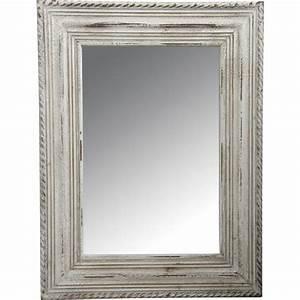 Miroir Cadre Bois : miroir en bois blanc vieilli nmi1320v aubry gaspard ~ Teatrodelosmanantiales.com Idées de Décoration
