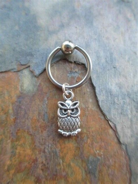 silver cute owl cartilage piercing captive ring tragus