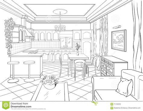 dining room drawing sketch interior in classic style stock illustration 78889