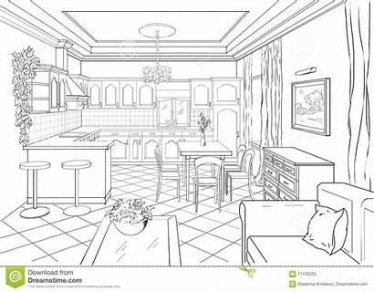 Sketch Interior Dining Drawing Kitchen Inre Klassisk