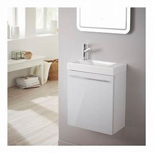 meuble lave mains design blanc laque pour wc salle de With salle de bain design avec lave main avec meuble