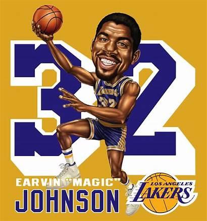 Magic Johnson Clipart Caricature Lakers Nba Clip