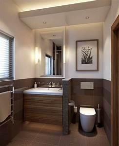 Fliesen Badezimmer Preise : kleines badezimmer trennwand waschkonsole holz toilette braun fliesen bad pinterest design ~ Sanjose-hotels-ca.com Haus und Dekorationen
