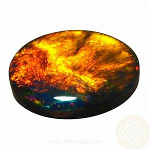 Loose Black Opal Red Orange Oval | FlashOpal
