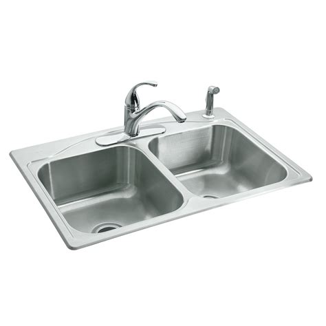 stainless steel kitchen sinks shop kohler cadence 22 in x 33 in double basin stainless