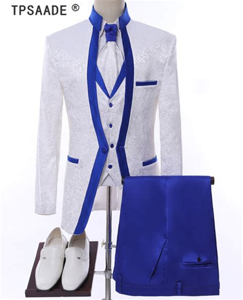 white royal blue rim stage clothing  men suit set mens