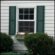 Vinyl Louvered Shutters  Exterior, Decorative  Hooks And